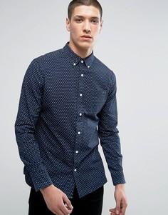 Приталенная рубашка с принтом крестиков Burton Menswear - Темно-синий