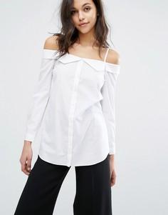 Рубашка с открытыми плечами Miss Selfridge - Белый