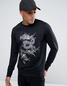 Свитшот с круглым вырезом и вышитым драконом Brave Soul Mens - Черный