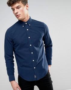 Темно-синяя обтягивающая оксфордская рубашка с карманом Abercrombie & Fitch - Темно-синий