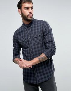 Черная клетчатая рубашка классического кроя в стиле вестерн New Look - Черный