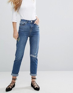 Джинсы в винтажном стиле с вышивкой Miss Selfridge - Синий