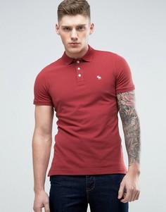 Бордовое поло узкого кроя с вышивкой лося Abercrombie & Fitch - Красный