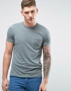 Зеленая обтягивающая футболка с принтом на груди Abercrombie & Fitch - Зеленый