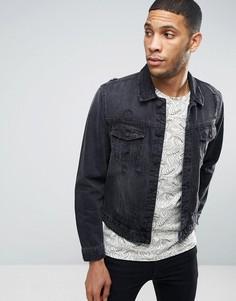 Джинсовая куртка с потертостями Only & Sons - Черный