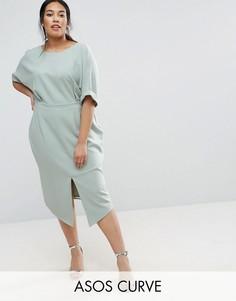 Строгое платье миди ASOS CURVE - Зеленый