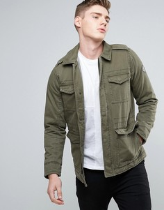 Саржевая куртка оливкового цвета в стиле милитари Hollister M65 - Зеленый
