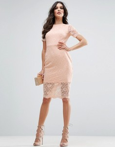 Облегающее платье миди с кружевом с фигурным краем ASOS - Бежевый