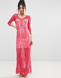 Кружевное платье макси Little Mistress - Розовый