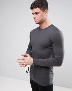 Черная длинная обтягивающая футболка с молниями на рукавах ASOS - Черный