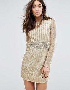 Облегающее премиум-платье со сплошной декоративной отделкой PrettyLittleThing - Бежевый