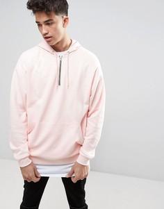 Oversize-худи розового цвета с короткой молнией ASOS - Розовый