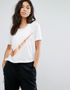 Белая футболка с блестящим логотипом-галочкой Nike - Белый