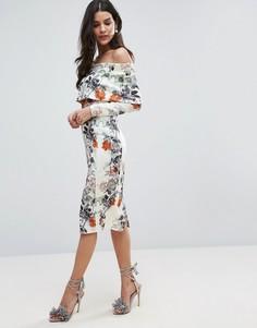 Облегающее платье с широким вырезом, длинными рукавами и цветочным принтом ASOS - Мульти