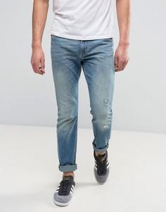 Выбеленные узкие эластичные джинсы с потертостями Lee Rider - Синий