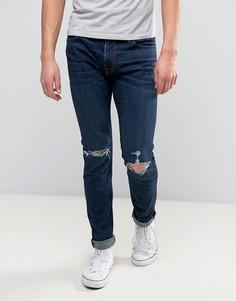 Темные супероблегающие эластичные джинсы с рваной отделкой Abercrombie & Fitch - Синий