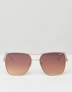 Золотистые квадратные солнцезащитные очки-авиаторы Quay Australia Stop and Stare - Золотой