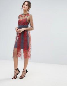Платье с вышивкой Little White Lies Stargazer - Красный