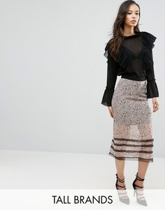 Юбка миди с цветочным принтом и кружевной отделкой Fashion Union Tall - Мульти