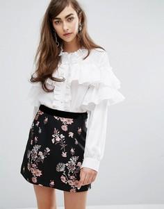 Блузка с оборками с высокой горловиной Sister Jane - Белый