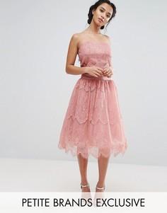 Кружевная пышная юбка миди для выпускного с подкладкой из тюля Chi Chi London Petite - Розовый