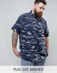 Темно-синяя рубашка с гавайским принтом Duke PLUS - Темно-синий