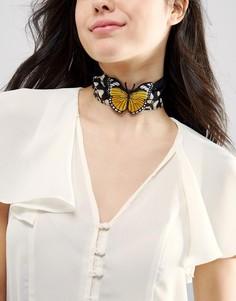 Ожерелье-чокер с бабочкой ASOS - Мульти