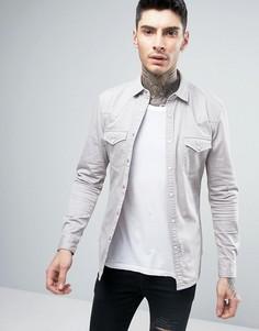 Светло-серая приталенная джинсовая рубашка в стиле вестерн ASOS - Серый