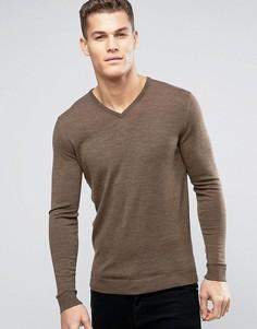 Джемпер из мериносовой шерсти с V-образным вырезом Selected Homme - Черный