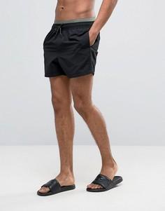Короткие черные шорты для плавания с двойным поясом ASOS - Черный