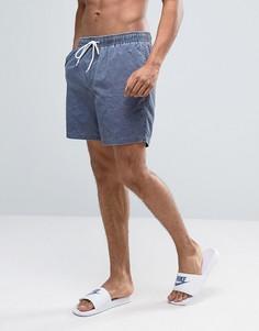 Темно-синие шорты для плавания средней длины с эффектом кислотной стирки ASOS - Темно-синий
