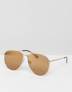 Золотистые матовые солнцезащитные очки-авиаторы ASOS - Золотой