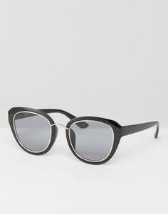 Солнцезащитные очки «кошачий глаз» с металлической отделкой ASOS - Черный
