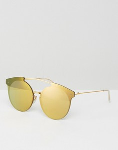 Круглые солнцезащитные очки с планкой и золотистыми стеклами ASOS - Золотой