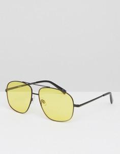 Черные квадратные очки-авиаторы в металлической оправе с желтыми линзами ASOS - Черный