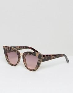 Солнцезащитные очки кошачий глаз с плоским верхом и двойной переносицей ASOS - Коричневый