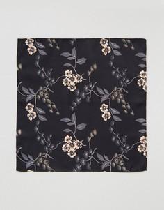 Платок для нагрудного кармана с кремовым цветочным принтом ASOS - Черный