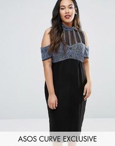 Платье миди с открытыми плечами и отделкой ASOS CURVE - Мульти