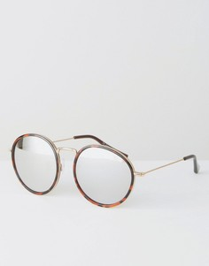 Круглые солнцезащитные очки в черепаховой оправе 7X - Золотой