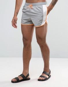 Серые шорты для плавания с контрастной неоновой отделкой ASOS - Серый