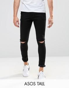 Супероблегающие джинсы с дырками на коленях ASOS TALL - Черный