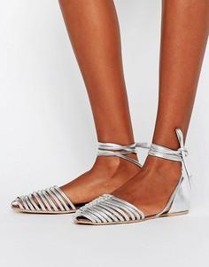 Кожаные туфли с завязками ASOS JOLA - Серебряный