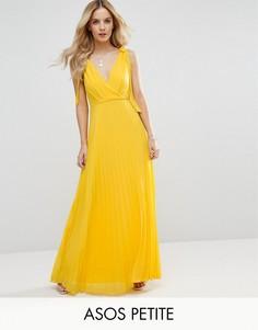 Платье макси с плиссированной юбкой и завязывающимися бретельками ASOS PETITE - Мульти