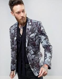 Приталенный пиджак в стиле 70-х с пальмовым принтом Devils Advocate - Синий