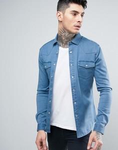 Светлая приталенная джинсовая рубашка в стиле вестерн ASOS - Синий