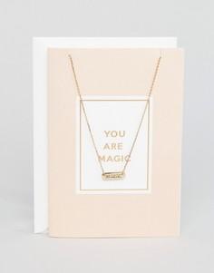 Ожерелье с подарочной открыткой Orelia Your Are Magic Unicorn - Золотой