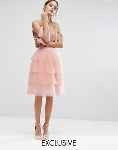 Ярусная тюлевая мини-юбка True Decadence - Розовый