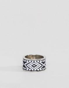 Серебристое кольцо с ацтекским узором Icon Brand - Серебряный