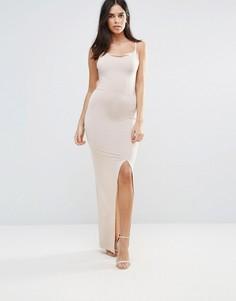 Платье макси с драпировкой и разрезом Oh My Love - Бежевый