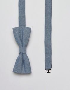 Галстук-бабочка из ткани шамбре Jack & Jones - Синий